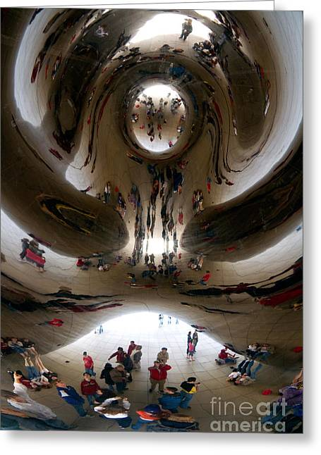 Stainless Steel Greeting Cards - Cloud Gate Sculpture, Millennium Park Greeting Card by David R. Frazier