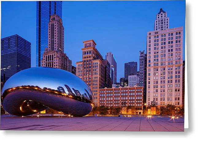 The Bean Greeting Cards - Cloud Gate -The Bean- In Millenium Park at Twilight Blue Hour - Chicago Illinois Greeting Card by Silvio Ligutti