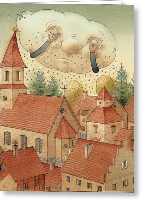 City Rain Greeting Cards - Cloud Greeting Card by Kestutis Kasparavicius