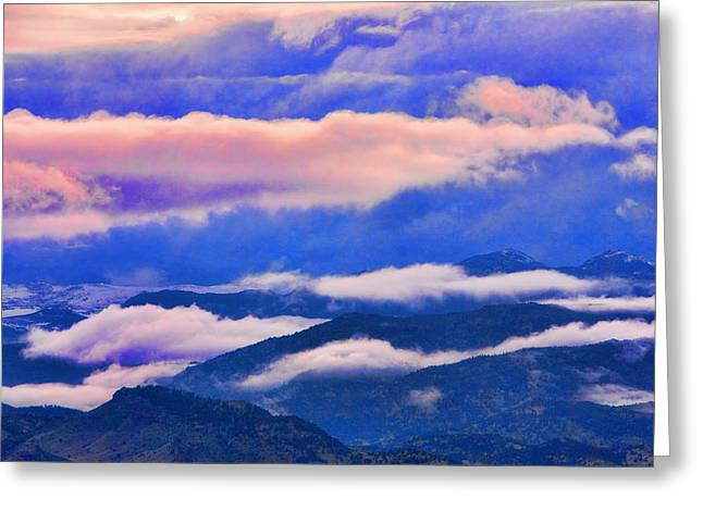 Sunset Posters Greeting Cards - Cloud Layers at Sunset Greeting Card by James BO  Insogna