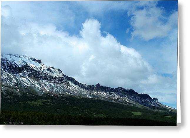Snow Scene Landscape Greeting Cards - Cloud Over Marias Pass Greeting Card by Tracey Vivar