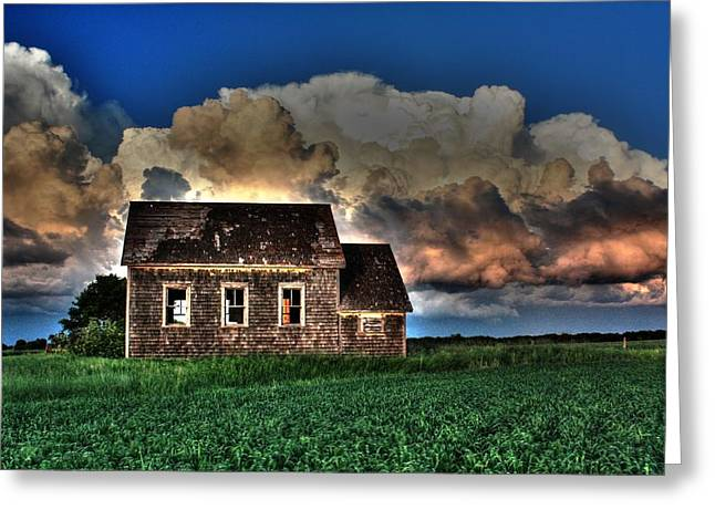 Red School House Greeting Cards - Cloud over one room school Greeting Card by David Matthews