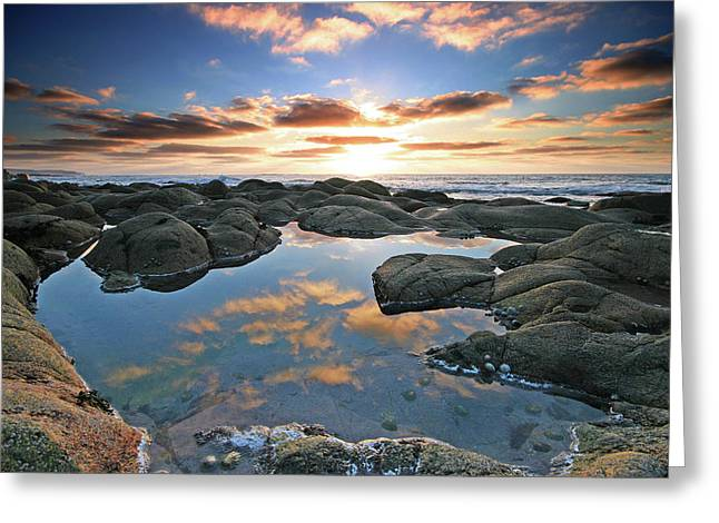 Cape Cornwall Greeting Cards - Cloud reflections Cot Valley West Cornwall at sunset Greeting Card by Mark Stokes