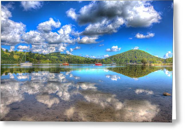 Peaceful Scene Greeting Cards - Cloud reflections on a beautful lake on a summer morning Greeting Card by Michael Charles