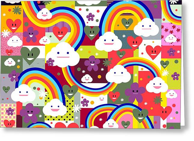 Clouds And Rainbows Greeting Card by Alondra Hanley