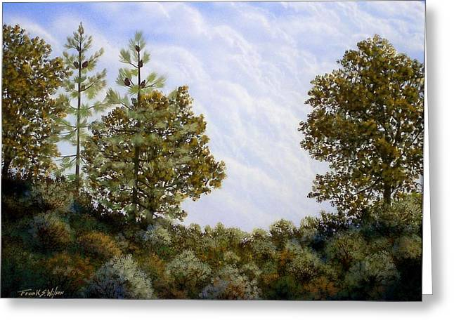 Windswept Paintings Greeting Cards - Clouds In Foothills Greeting Card by Frank Wilson