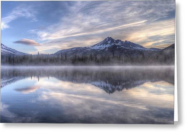 Oregon Photos Greeting Cards - Clouds of Morning over Mountains Greeting Card by Twenty Two North Photography