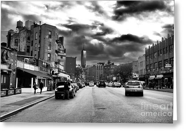 Clouds Over 7th Avenue Greeting Card by John Rizzuto
