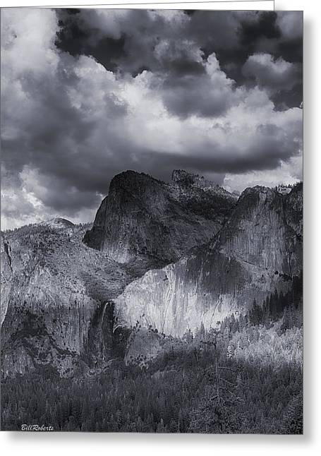 Clouds Over Bridal Veil Falls Greeting Card by Bill Roberts