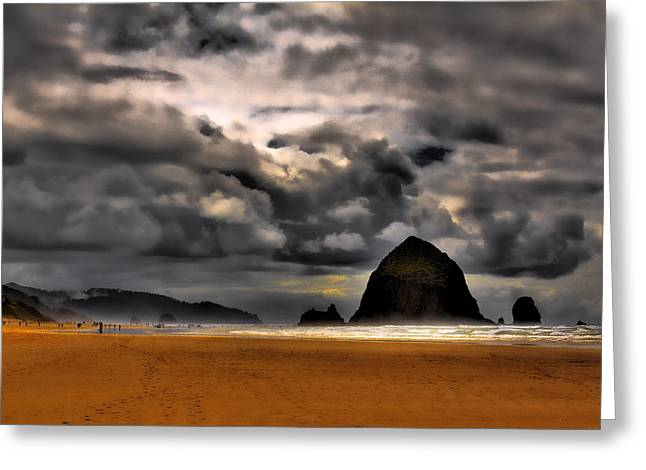 Lanscape Greeting Cards - Clouds over Cannon Beach Greeting Card by David Patterson