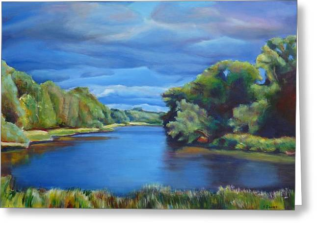 Kitchener Paintings Greeting Cards - Clouds Over Conestogo River II Greeting Card by Sheila Diemert