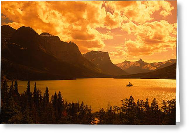 Lake Mcdonald Greeting Cards - Clouds Over Mountains, Mcdonald Lake Greeting Card by Panoramic Images