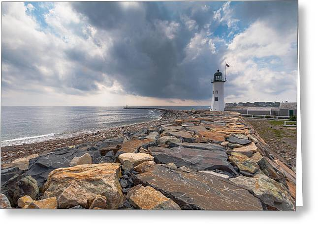New England Ocean Greeting Cards - Clouds over Old Scituate Light Greeting Card by Brian MacLean