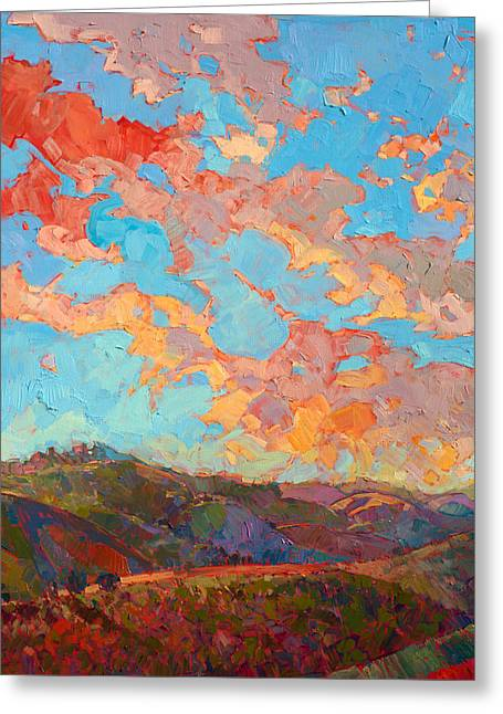 Clouds Over Paso Greeting Card by Erin Hanson