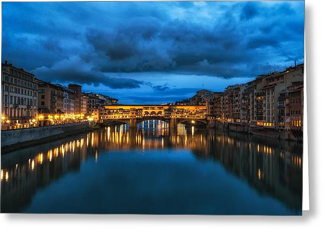 Tuscan Sunset Greeting Cards - Clouds Over Ponte Vecchio Greeting Card by Insung Choi