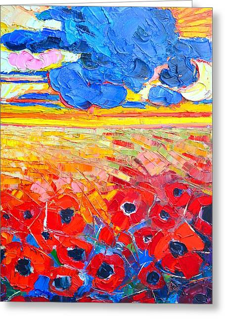 Sun Rays Paintings Greeting Cards - Abstract Landscape - Clouds Over Red Poppies Field Greeting Card by Ana Maria Edulescu