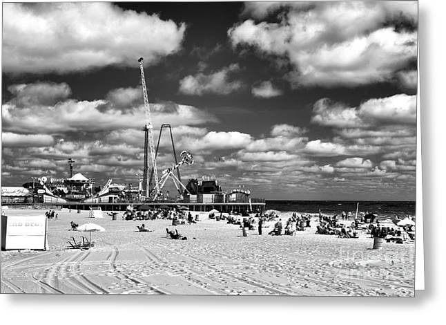 Casino Pier Greeting Cards - Clouds Over Seaside Heights mono Greeting Card by John Rizzuto
