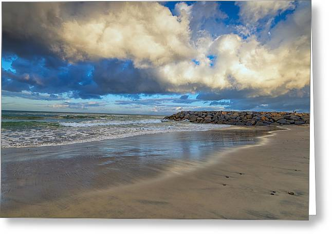 California Beach Greeting Cards - Clouds over the Jetty Greeting Card by Joseph S Giacalone
