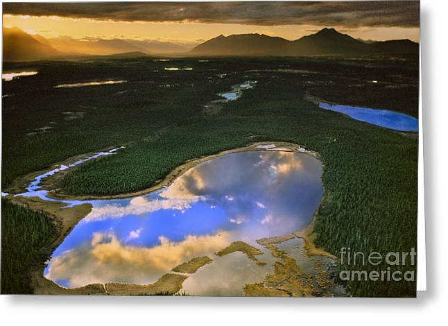 Mountain Valley Greeting Cards - Clouds Reflecting In Lake, Alaska, Usa Greeting Card by Frans Lanting/MINT Images