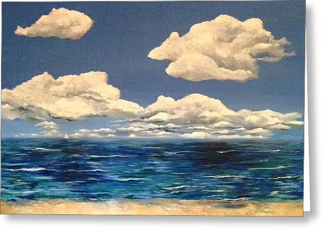 Beach Cottage Style Greeting Cards - Clouds Roll In Greeting Card by Janice Phelps Williams