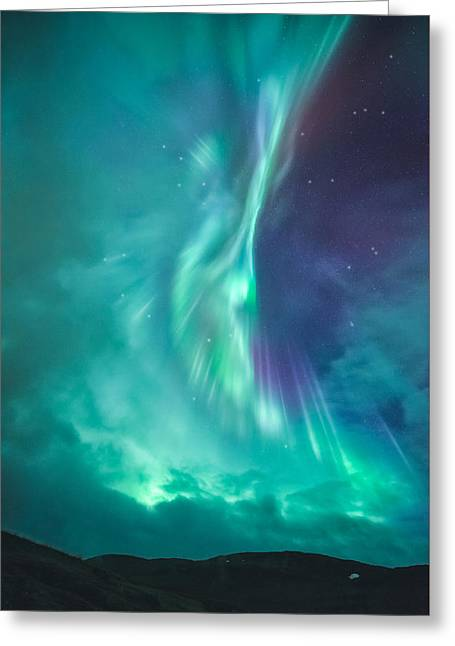 Northern Lights Greeting Cards - Clouds vs Aurorae Greeting Card by Tor-Ivar Naess