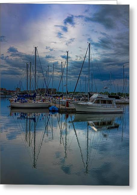 Sailboat Images Greeting Cards - Cloudy Afternoon at Reefpoint Marina Greeting Card by Dale Kauzlaric