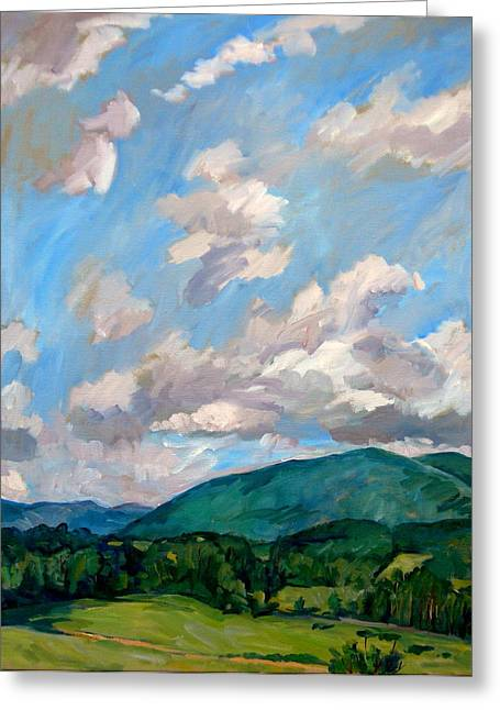 Abstract Realist Landscape Greeting Cards - Cloudy Day Berkshires Greeting Card by Thor Wickstrom