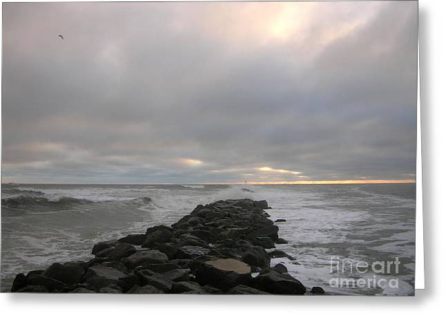 Beach Photography Greeting Cards - Cloudy jetty sunrise 10-6-15 Greeting Card by Julianne Felton