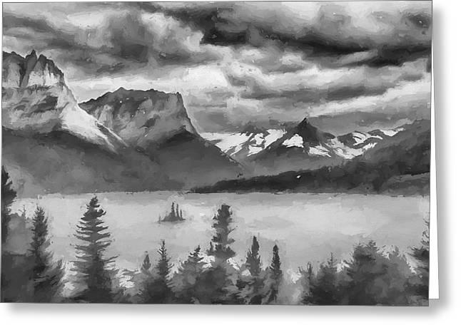 Cloudy Mountain Top II Greeting Card by Jon Glaser