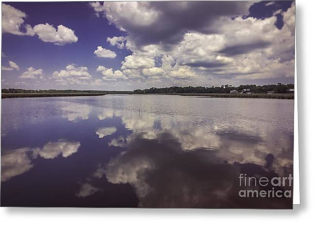 Reflecting Water Greeting Cards - Cloudy Reflections Greeting Card by Joan McCool