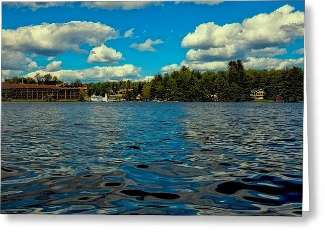 Summer Scene Greeting Cards - Cloudy Skies Over Old Forge Pond Greeting Card by David Patterson