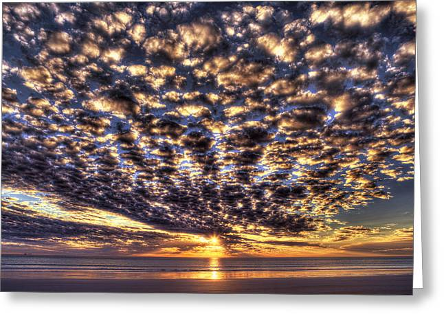 Sundet Greeting Cards - Cloudy Sunset Greeting Card by Adam Krawczyk