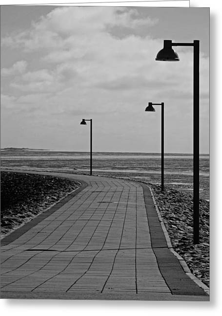 Grey Clouds Greeting Cards - Cloudy Sunset Walk To The North Sea Greeting Card by See Hund