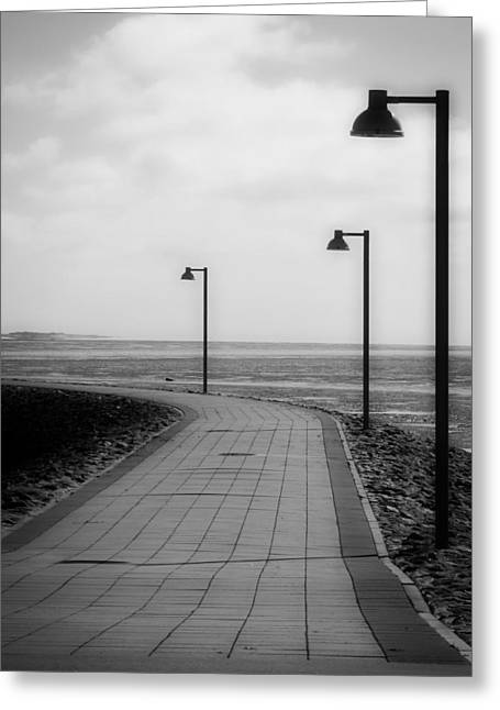 Walkway To The Beach Greeting Cards - Cloudy Sunset Walk To The Sea Greeting Card by See Hund