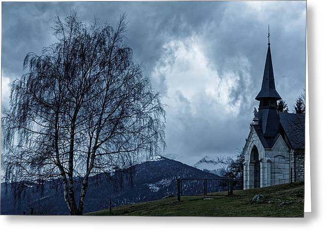 Winter Storm Greeting Cards - Cloudy cute chapel Greeting Card by Cyril Chuteaux