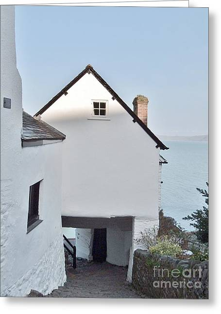 Main Street Greeting Cards - Clovelly Architecture Greeting Card by Richard Brookes
