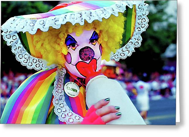 Main Street Greeting Cards - Clown 2 - Pioneer Day Parade  Greeting Card by Steve Ohlsen