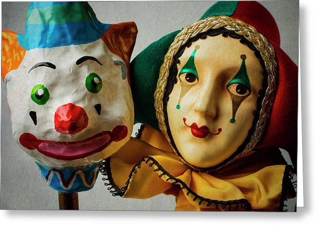 Clown And Jester Greeting Card by Garry Gay