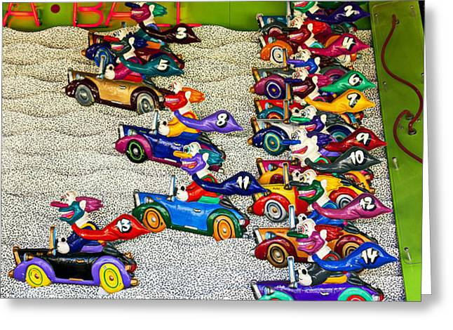 Clown car racing game Greeting Card by Garry Gay