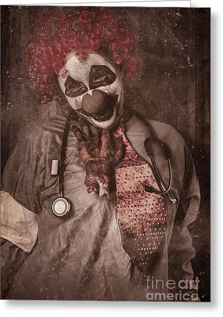 Retribution Greeting Cards - Clown doctor being strangled by autopsy limb Greeting Card by Ryan Jorgensen