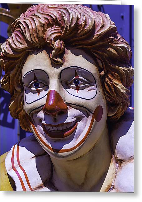Clown Face Greeting Card by Garry Gay