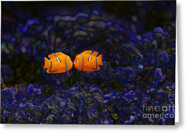 Clown Fish Photographs Greeting Cards - Clown fish abstract Greeting Card by Sheila Smart