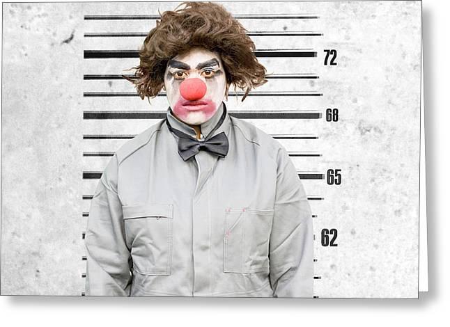Clown Mug Shot Greeting Card by Jorgo Photography - Wall Art Gallery