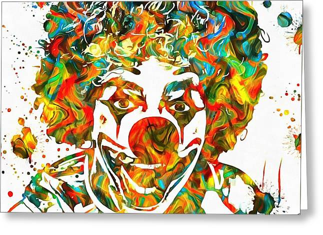 Scary Clown Greeting Cards - Clown Paint Splatter Greeting Card by Dan Sproul
