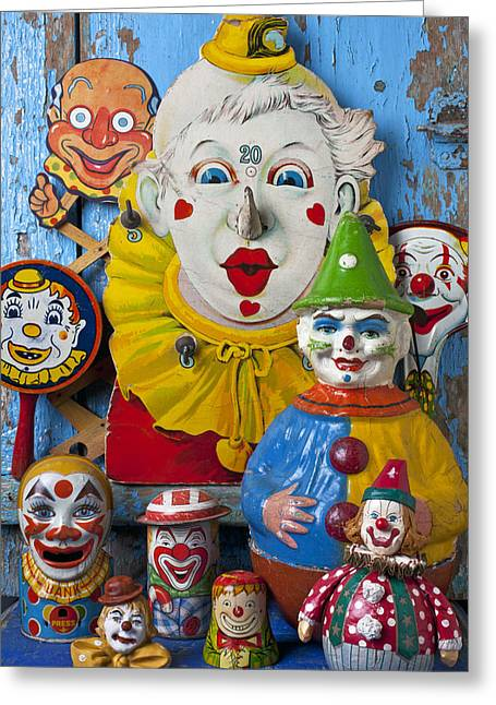 Make Believe Greeting Cards - Clown toys Greeting Card by Garry Gay
