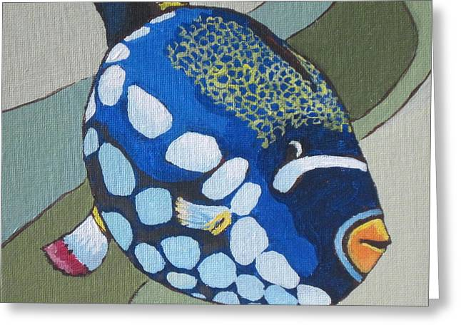 Triggerfish Paintings Greeting Cards - Clown Triggerfish Greeting Card by Sandy Tracey