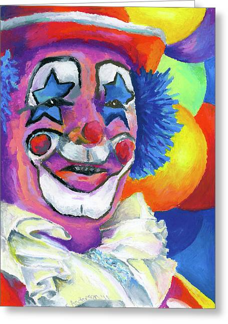 Funny Pastels Greeting Cards - Clown with Balloons Greeting Card by Stephen Anderson