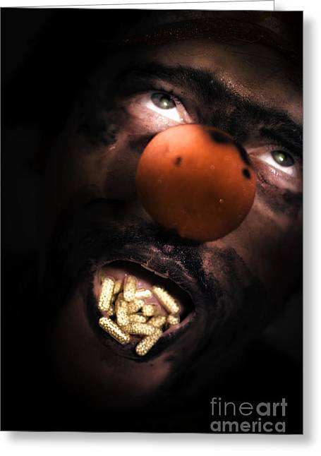 Medication Greeting Cards - Clown With Capsules In Mouth Greeting Card by Ryan Jorgensen