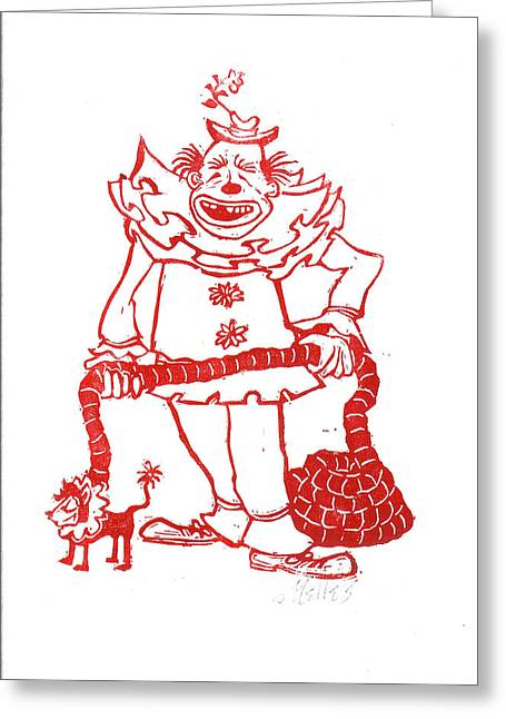 Linoleum Block Print Greeting Cards - Clown with Dog Greeting Card by Barry Nelles Art
