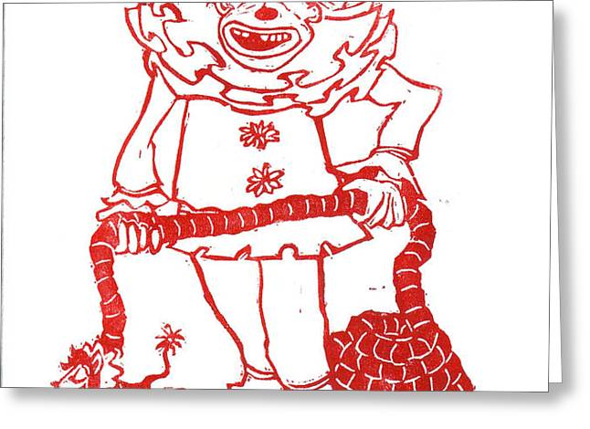 Clown with Dog Greeting Card by Barry Nelles Art